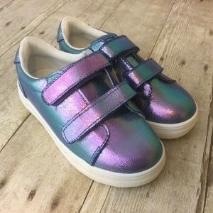 Girls iridescent Sneakers Double Strap New 12